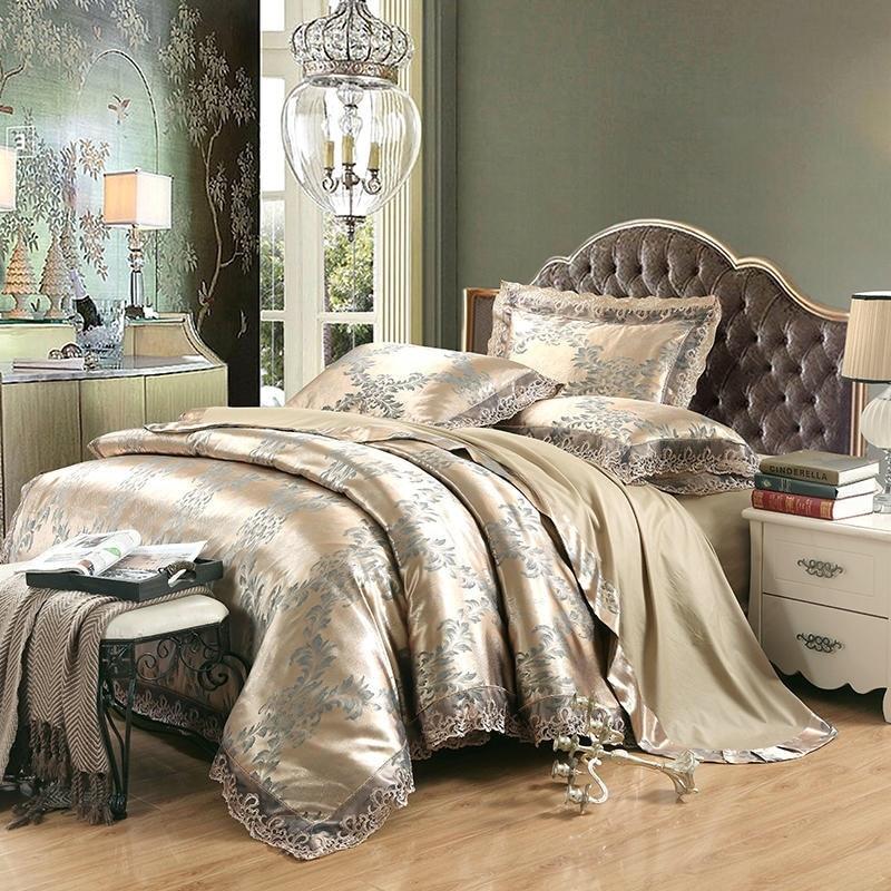 الملكة حجم الفاخرة الجاكار الديكور أوروبا نمط غطاء سرير مزدوج 220/240 سنتيمتر ورقة مرنة الملك و الملكة حجم الحرير الفراش مجموعة