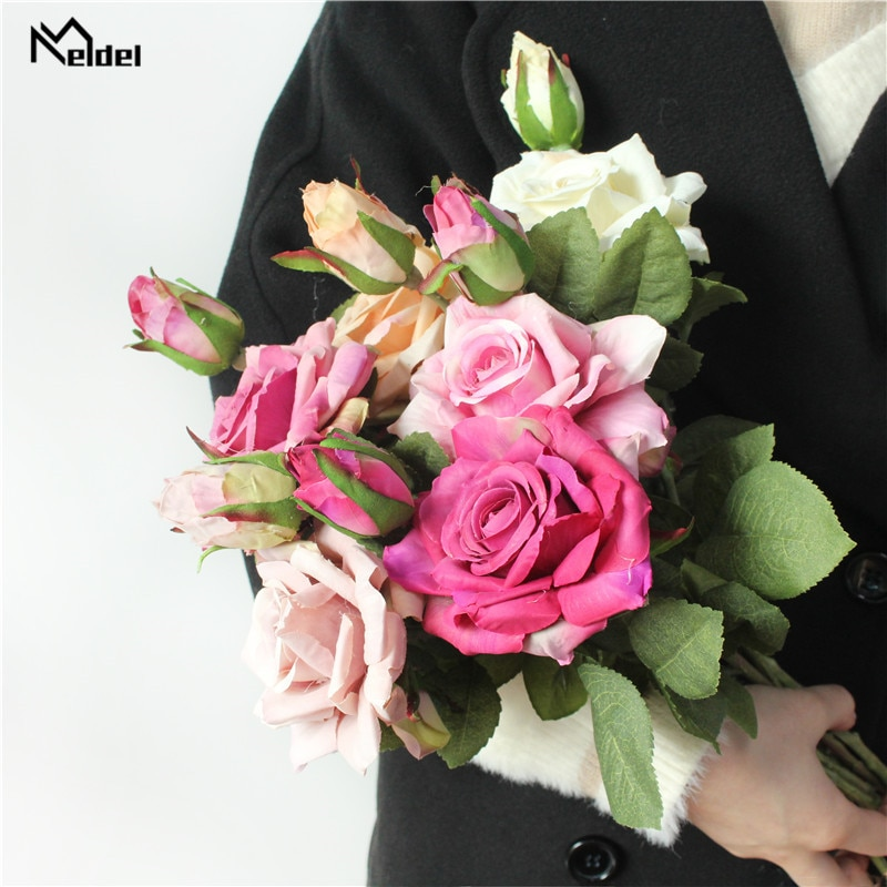 Meldel Retro Autumn Large Roses White Silk Peony Artificial Flowers Bouquet Fake For Home Bride Wedding Decoration