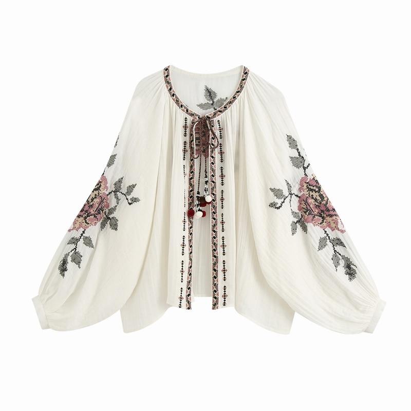 Bordado floral camisa outono 2020 nova moda plus size blusa feminina largas camisas soltas