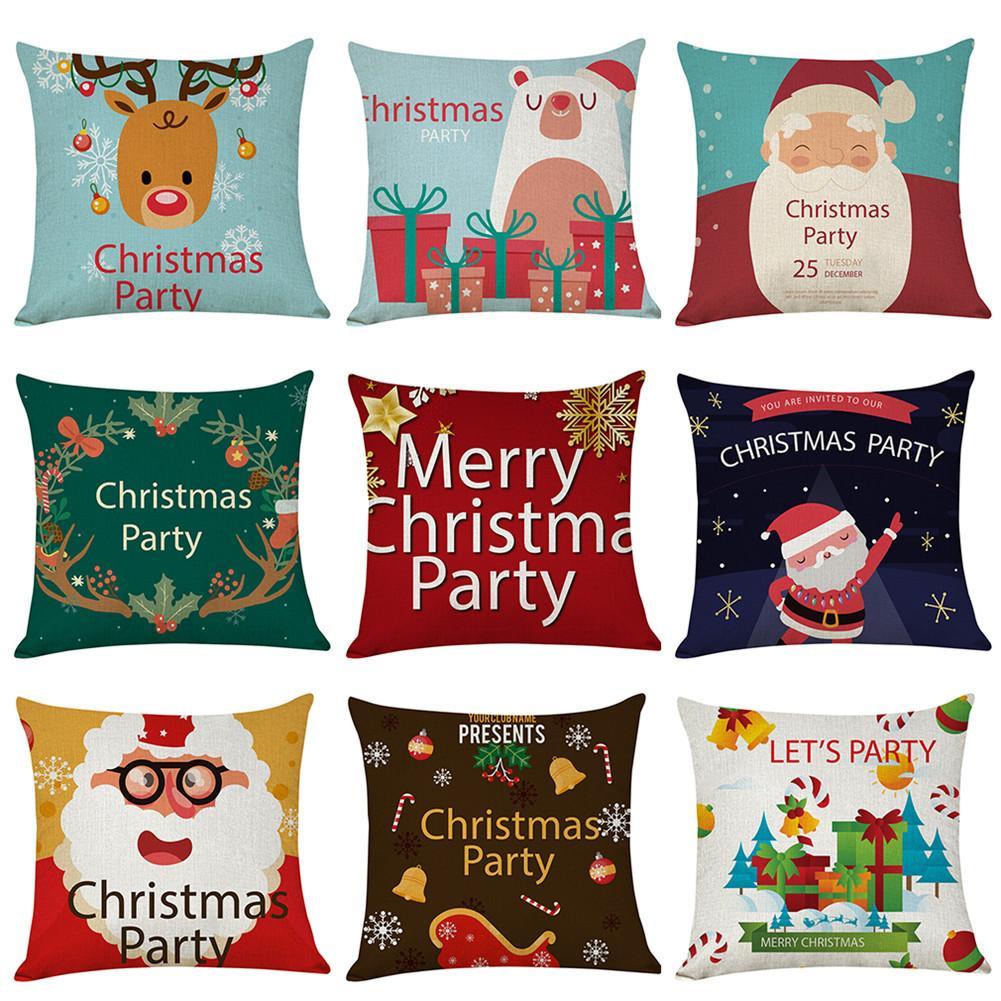 45x45CM Christmas Cushion Cover Red Merry Christmas Pillow Case Decorative Pillows Sofa Home Decoration Pillowcase Cushion Cover 45x45cm home fashion linen sofa cushion cover fabric pillow case solid color cushion decorative
