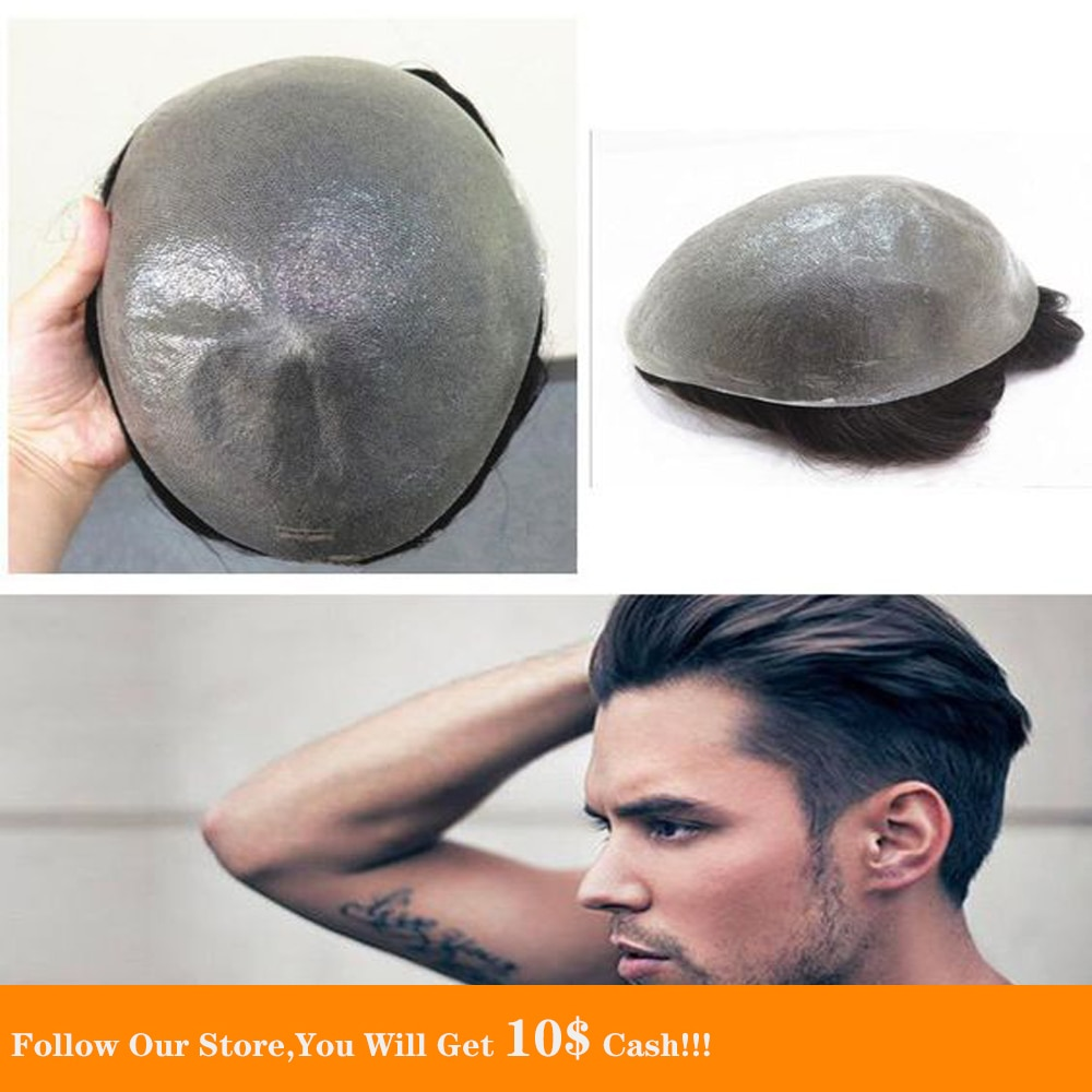 BYMC Breathable Men's Hair Toupee Full PU 100% Remy Human Hair Pieces Real Hair Replacement Toupee for Men Wig Natural Looking