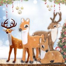Christmas Reindeer Lying Deer Lawn Ornaments Plush Plastic Xmas Home Decor Gift Elk Mini Shop Window Simulation Xmas Elk