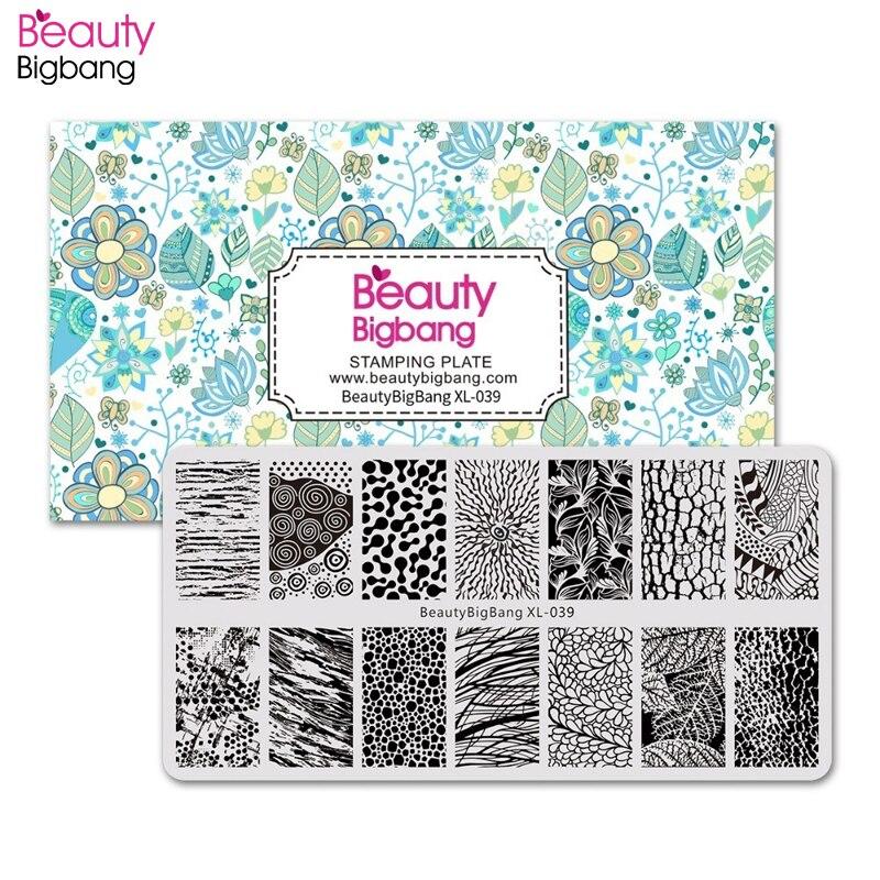 Beautybigbang arte do prego placa de carimbo 6*12cm folha de árvore design retângulo selo modelo manicure arte do prego imagem placa XL-039