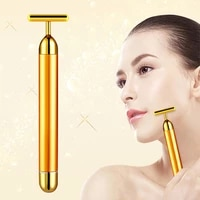 free shipping 24k gold beauty massage stick t shaped face slimming device face facial massage cosmetic instrument vibration