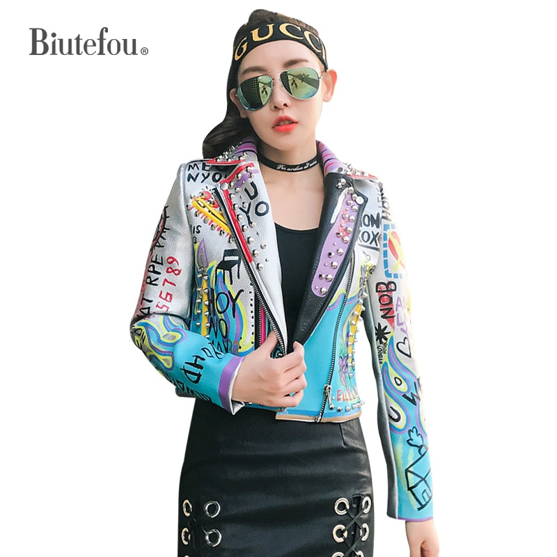 2021 Spring and Autumn Women Short Eagle Embroidery Graffiti Print High Waist PU Jacket