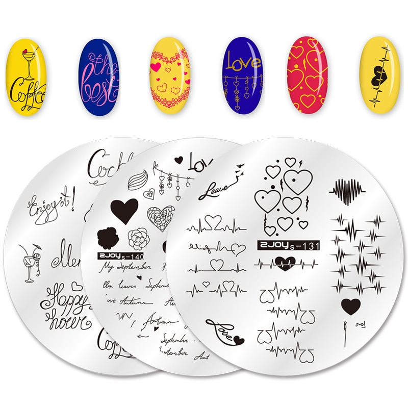 WAKEFULNESS Valentine's Day Nail Stamping Plates Heart Single Love Theme Nail Art Image Stencil Stamp Manicure Template Tools недорого