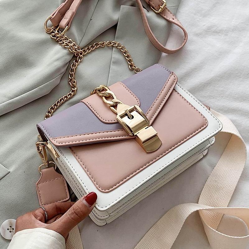 سلسلة الموضة سيدة حقيبة رافعة تلبيسة اللون بولي Leather حقيبة جلدية Crossbody للنساء 2021 جديد واسع حزام الكتف حقيبة ساعي السيدات