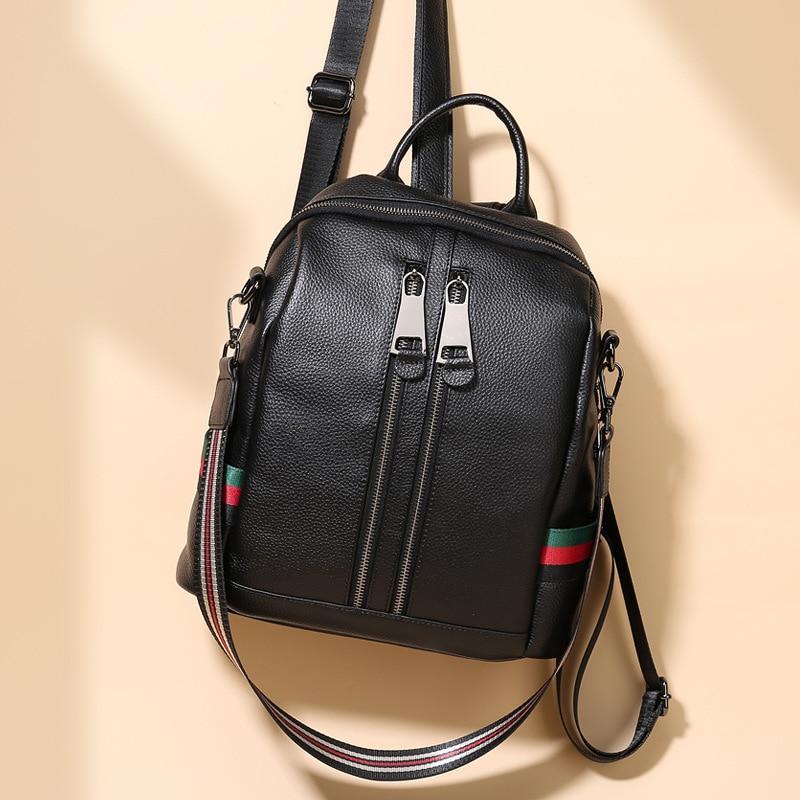 Nesitu-حقيبة ظهر من الجلد الطبيعي A4 للنساء والفتيات ، حقيبة كتف ، جودة عالية ، نمط عتيق ، لون أسود ، M9085 ، 100%