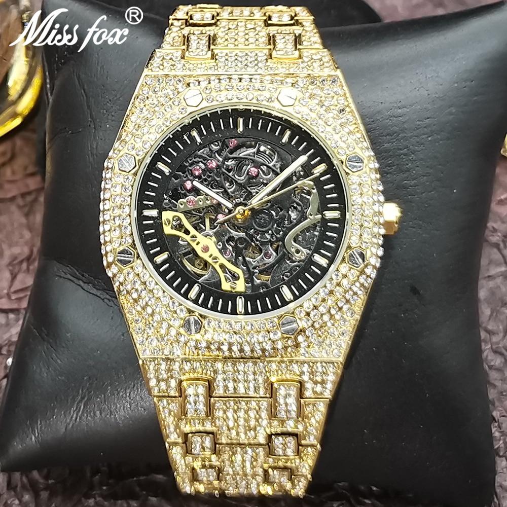 Hip Hop MISSFOX Automatic Mechanical Men Watches Full Diamond Gold Bling Wrist Watch Fashion Classic AAA Clock Relógio masculino