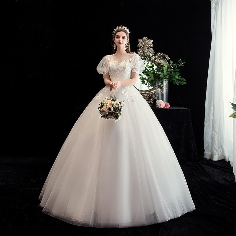 فستان زفاف مثير بفتحة رقبة على شكل V وأكمام فانوس ، مجموعة جديدة 2021 من الدانتيل المطرز بالورود مقاس كبير ، فستان زفاف الأميرة