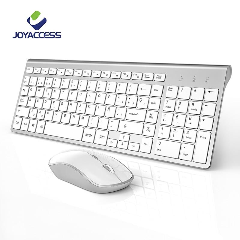 2.4GHz Wireless Spanish Keyboard and Mouse Set Ergonomic PC Mouse Slim Keyboard Spanish Layout with Ñ for Windows Mac Laptop ðšñ€ð¾ð²ð°ñ'ð¸ 140 ñð¼
