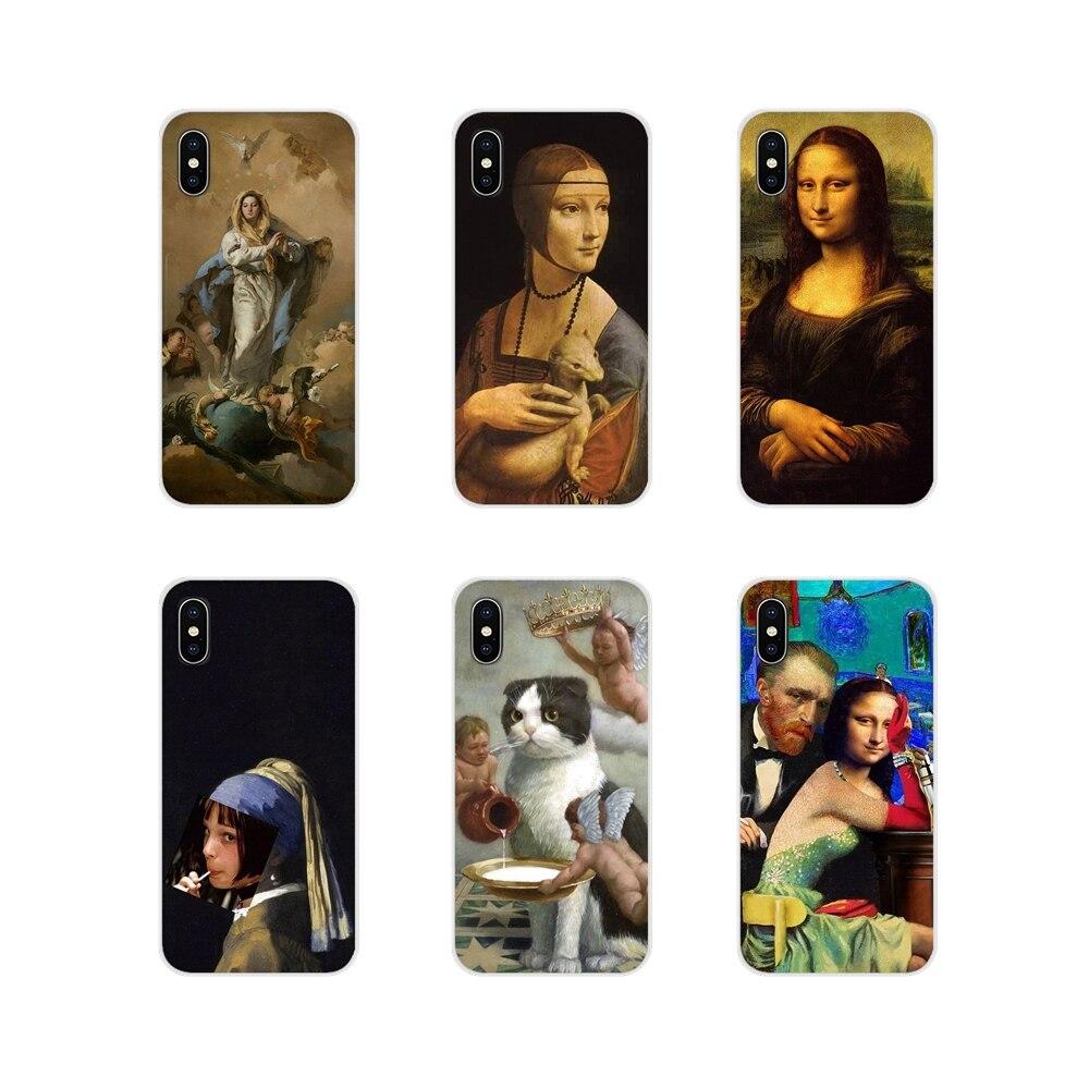 Leonardo da Vinci Mona Lisa gato Van Gogh cubre para Huawei G7 G8 P7 P8 P9 P10 P20 P30 Lite Mini Pro P Smart Plus 2017 de 2018 a 2019