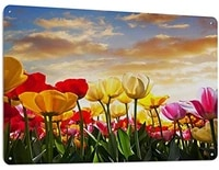metal sign tulip flower field at sunset cloud pink yellow vintage family panda wall art deco retro metal sign 12x8 inch