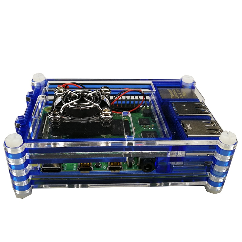 raspberry pi 4 model b acrylic case with cooling fan 32gb sd card 5v 3a power heatsink hdmi for raspberry pi 4b Raspberry Pi 4 Acrylic Case Blue Box Shell support CPU Cooling Fan  Heatsink for Raspberry pi 4B Pi 4