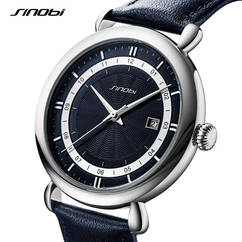 Sinobi جديد فاخر الرجال ساعات جلد طبيعي 100% الفولاذ المقاوم للصدأ الأعمال كوارتز ساعة اليد الذكور الرياضة ساعة reloj hombre
