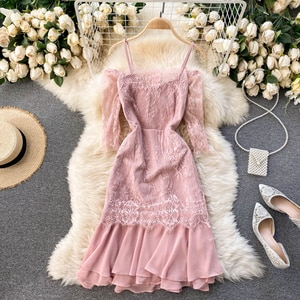 collar off shoulder design perspective lace middle sleeve slim fit bag hip Chiffon Ruffle Dress women's spring dress