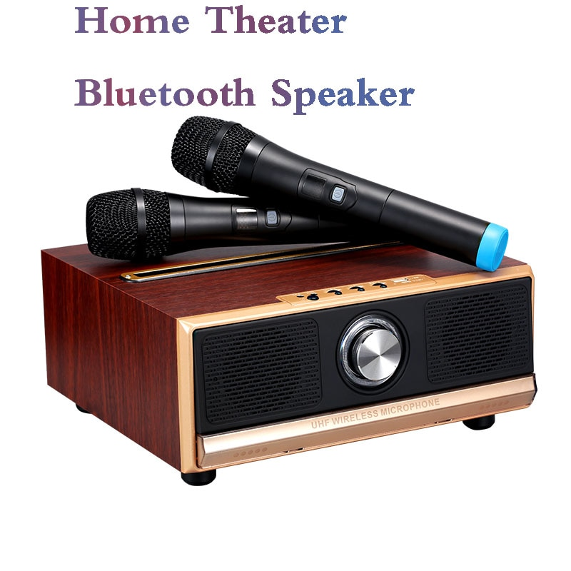 Promo Large Bluetooth Speaker Home Theater KTV Wireless Dual Microphone 50W Wooden Subwoofer Music Center HiFi Stereo Surround Sound