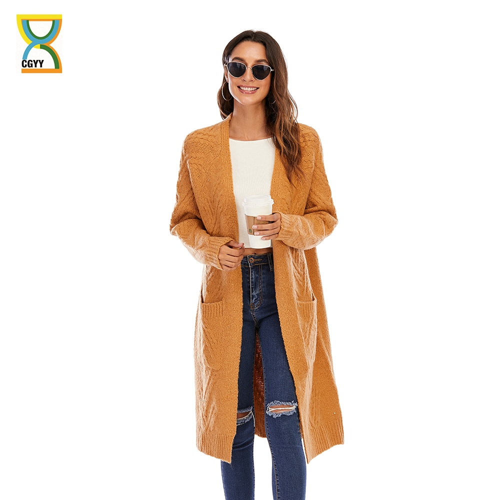 CGYY Casual Knitted Cardigan Women Autumn Winter Ginger Color Long Sleeve Loose Female Open Front Kn