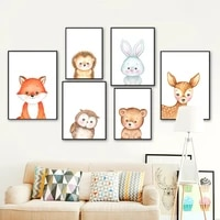 cartoon fox deer owl hedgehog rabbit bear wall art canvas painting nordic posters and prints wall pictures baby kids room decor