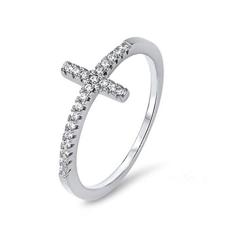 aliexpress.com - Exquisite Silver Plated Ring for Women Eternity Christian Cross Ring New Fashion Party Gifts Jewelry
