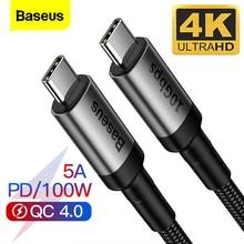 Câble Baseus USB 3.1 Type C à USB C pour MacBook 100W PD Charge rapide 4.0 3.0 pour Samsung Note 10 S10 USBC USB-C chargeur cordon