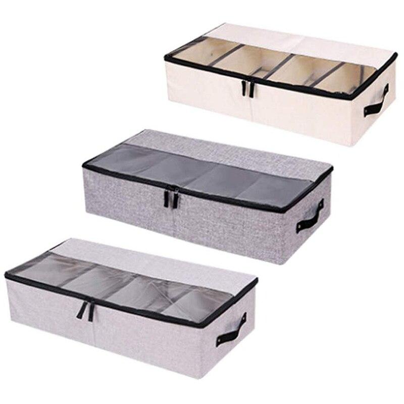 Ropa de moda organizador de zapatos multifunción plegable debajo de la cama caja de almacenamiento con tapa a prueba de polvo 4 compartimentos paquete de 3