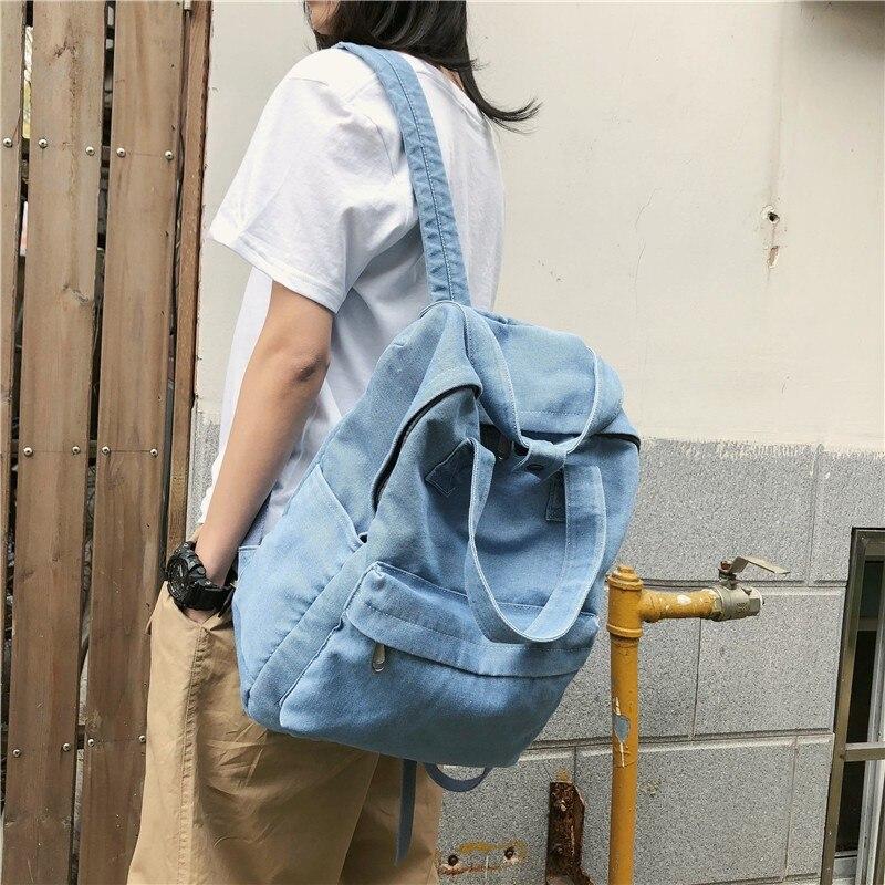 Женская школьная сумка в Корейском стиле Harajuku Ulzzang, школьный рюкзак для студентов, простой ковбойский холщовый рюкзак в студенческом стиле