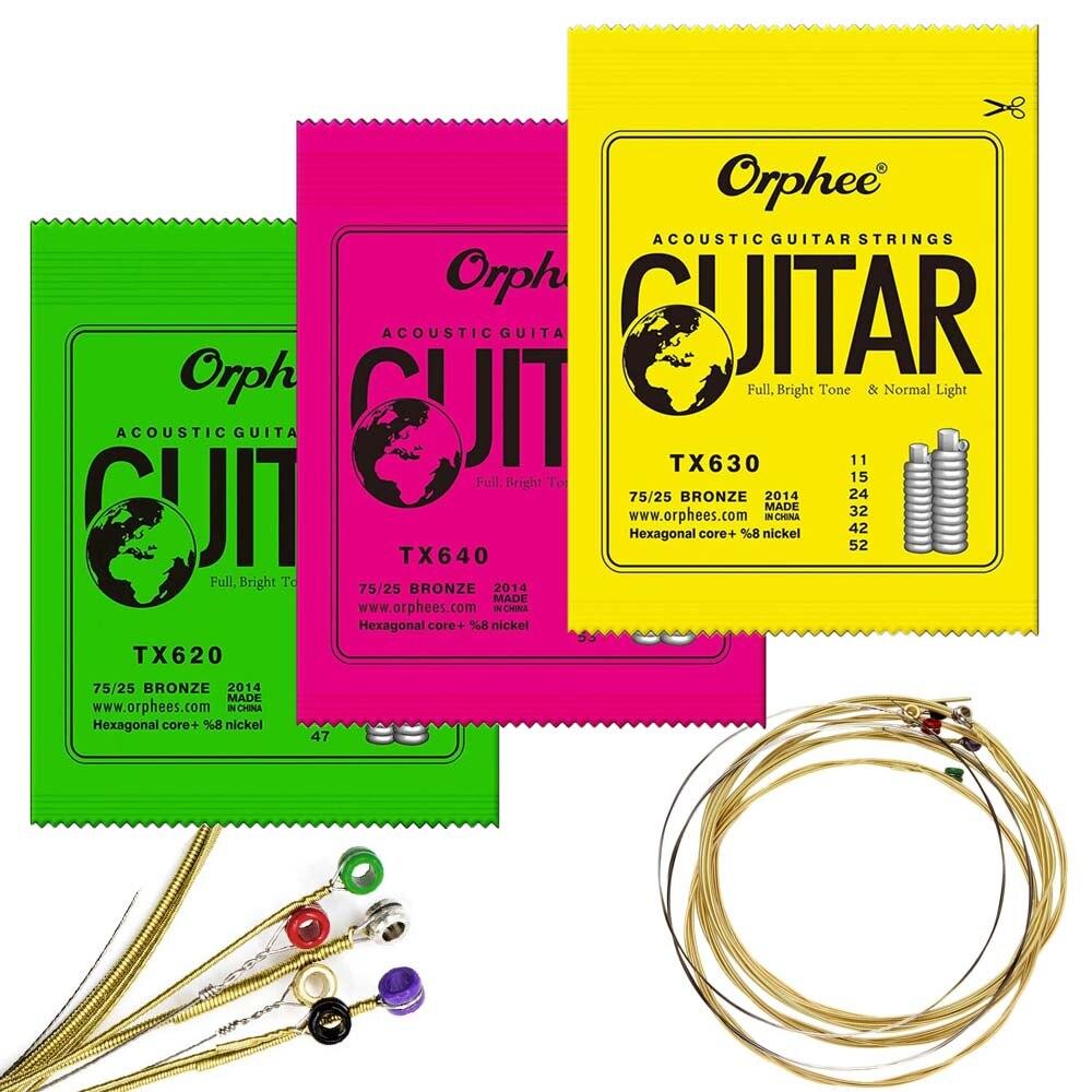6 unids/set Orphee cuerdas de guitarra acústica TX620 TX630 TX640 núcleo Hexagonal de bronce fosforado cuerdas de guitarra popular colorido