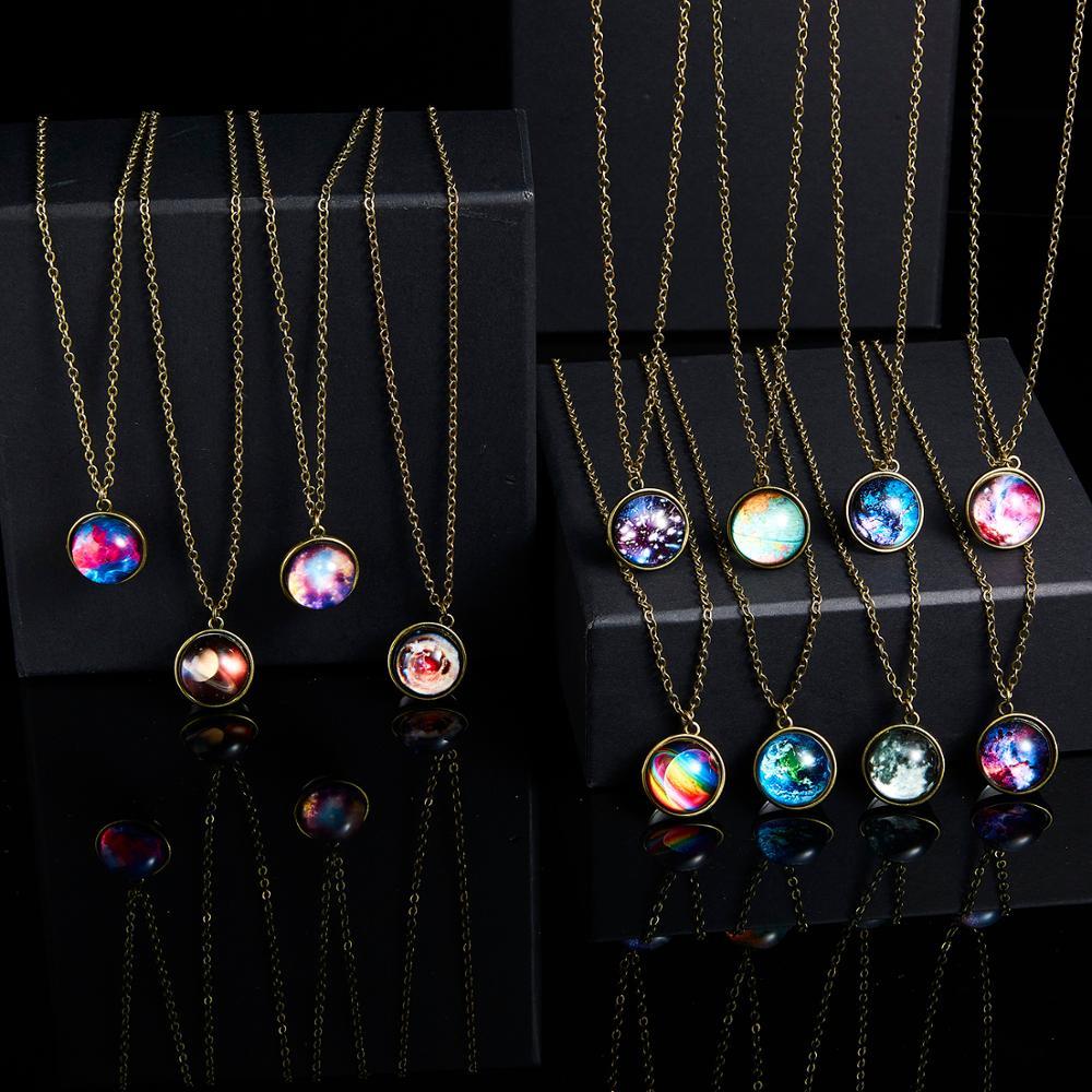 Rinhoo 1Pc Nieuwe Mode Vintage Galaxy Nebula Ronde Vorm Hanger Ketting Glow In The Dark Mode-sieraden gift