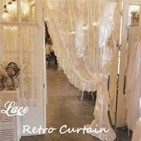 retro ruffled lace curtain living room bedroom balcony window gauze curtain princess style girl room decor window screen curtain