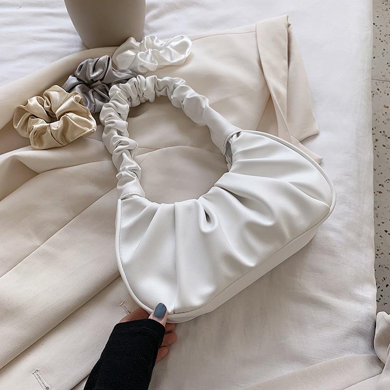 Folds Design Small PU Leather Shoulder Bags For Women 2020 Elegant Handbags Female Travel Totes Lady Fashion Hand Bag