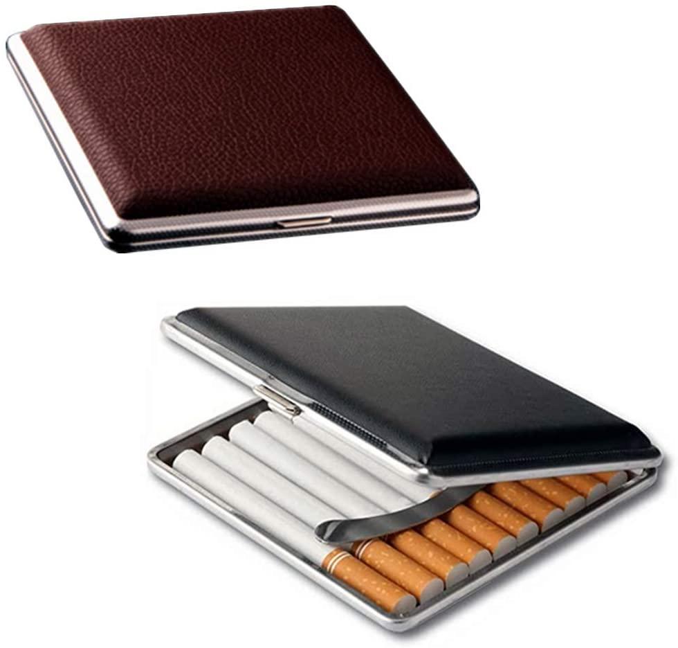 Мужской подарочный высококлассный 20 сигарный бокс, кожаный металлический бокс для хранения сигарет, аксессуары для курения на открытом воз...