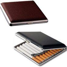 Men's Gift High-end 20 Cigar Box Leather Metal Cigarette Storage Box Travel Outdoor Smoking Tool Lig