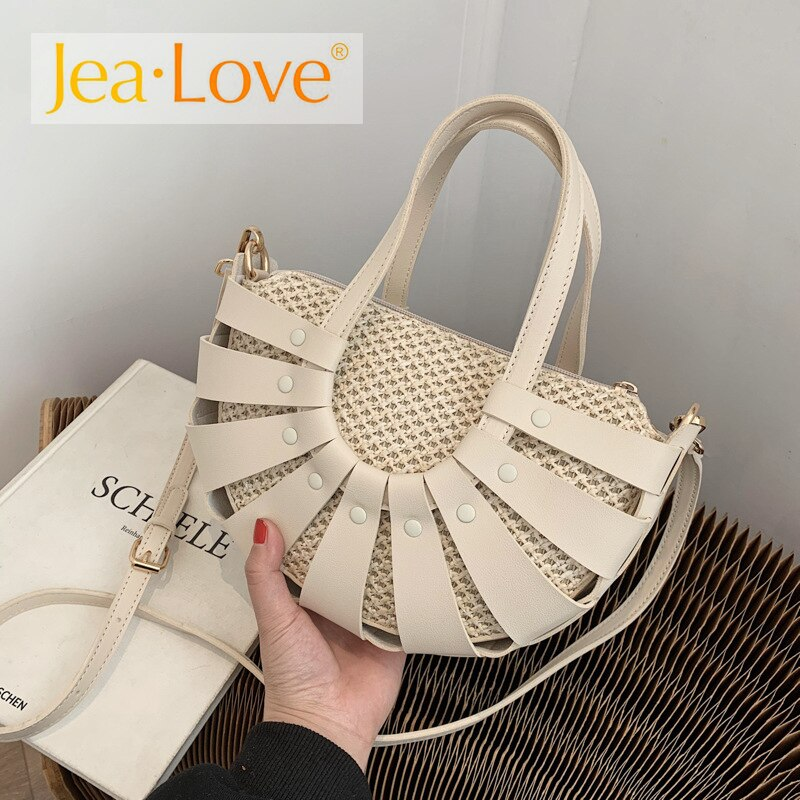 المنسوجة نصف دائرة تصميم حقيبة يد صغيرة السيدات الصيف الشاطئ واحد الكتف حقيبة ساعي الإناث السفر بو مصمم حقيبة يد كما النساء