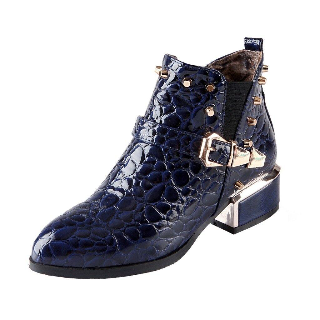 SAGACE, botas para mujer, Otoño Invierno, nueva moda sexy, charol, cremallera, puntiagudos, botines, Negro, Rojo, zapatos Martin de tacón alto