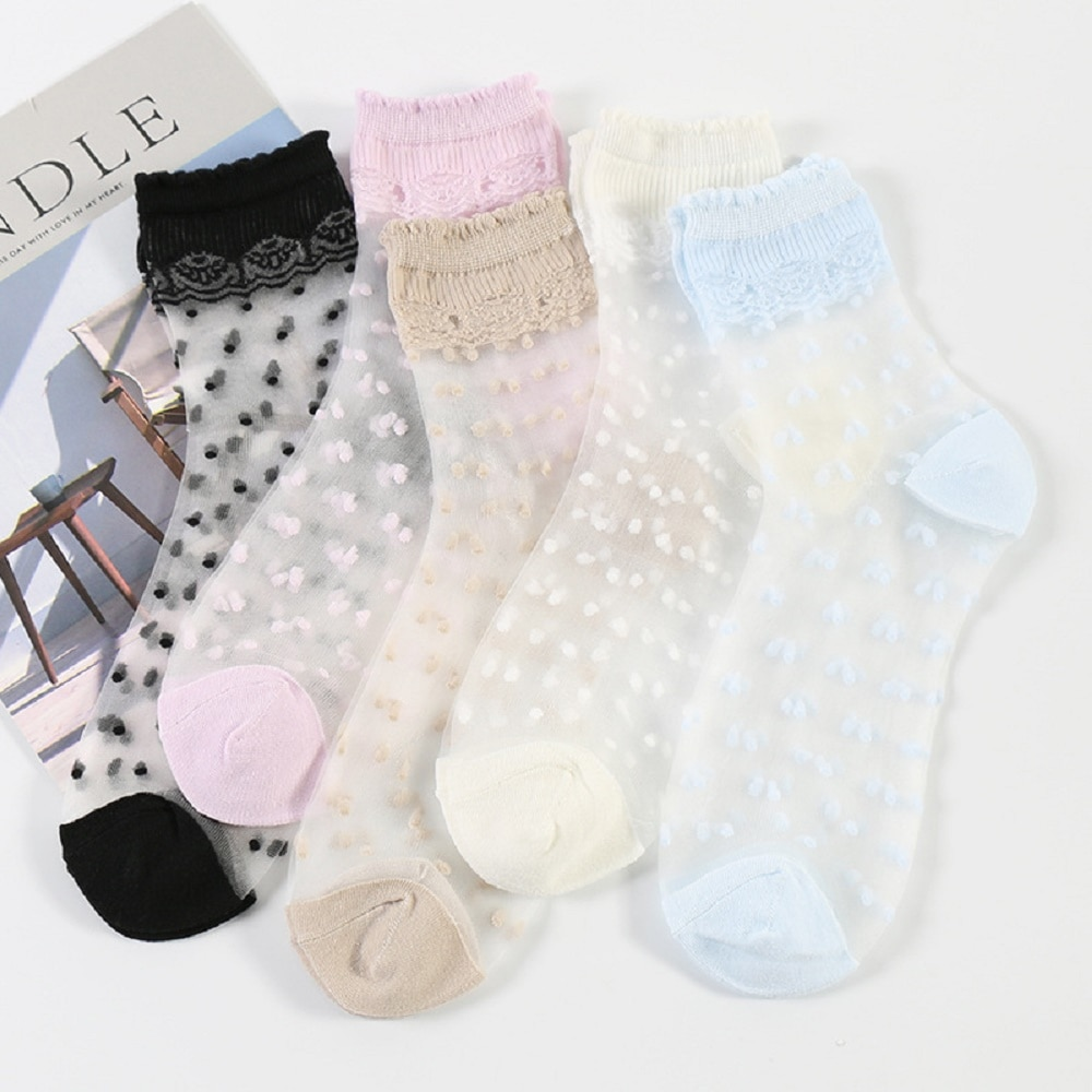 Summer Thin Mesh Women Socks Lace Crystal Glass Silk Sock Black reathable Transparent Polka Dots Socks Female Hosiery