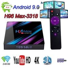 H96 Max 3318 Android 9,0 Smart TV Set Top Box 4K H.265 WiFi 2,4G/5G Bluetooth 4,0 64 GB unterstützung Spanien Brasilien Media Player tv box