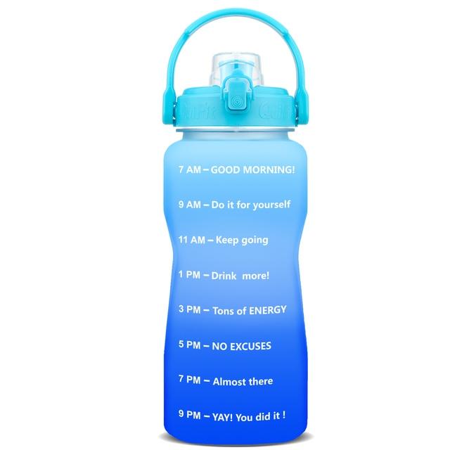 QuiFit 2L 3.8L Tritan Gallon Water Bottle Smartphone Stand With Flip-Flop BPA Free Bottles Portable Sports Mobile Holder GYM Jug 2