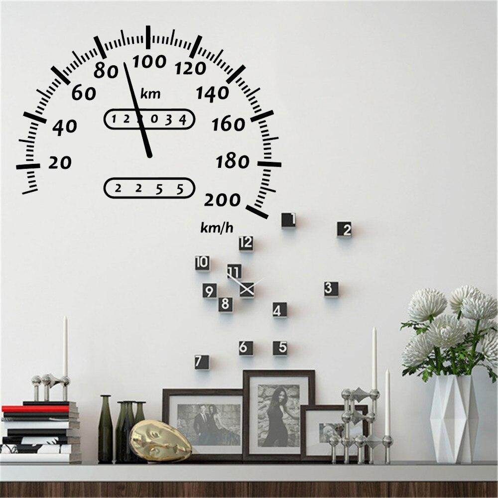 Автомобильный спидометр стены Стикеры спидометр автомобиля Мотокросс виниловые наклейки на стены для Мальчик номер игровая комната для де...