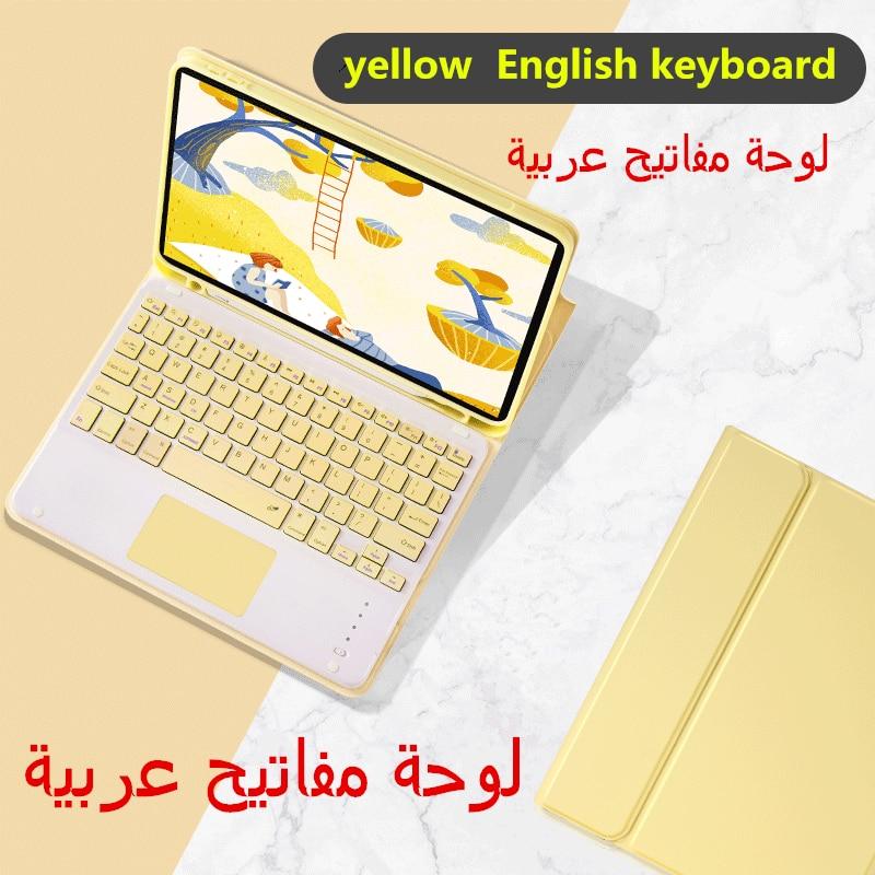 العربية اللمس لوحة المفاتيح حافظة لجهاز iPad 8th 10.2 برو 11 2020 الهواء 3 10.5 برو 10.5 7th 10.2 غطاء W حامل القلم الرصاص لوحة اللمس لوحة المفاتيح