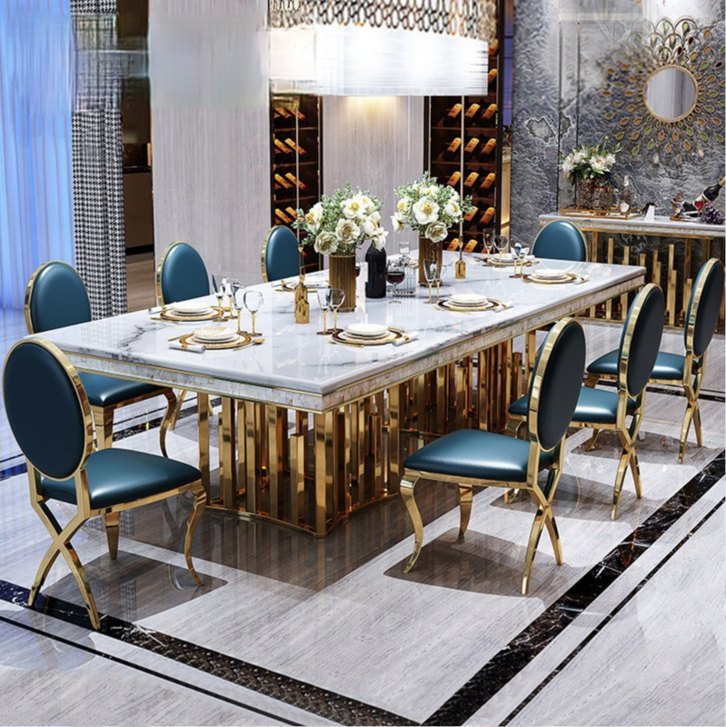 طاولة طعام من الرخام وكرسي مزيج مستطيلة طاولة الطعام المنزلية طاولة الطعام الإيطالية وكرسي