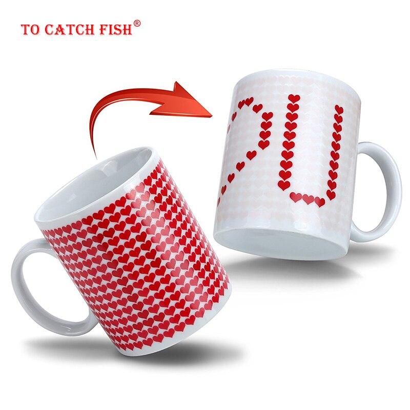 Creativo me encanta magia tazas de cambio de temperatura taza de cambio de Color tazas de camaleones Taza sensible al calor café té Taza de leche