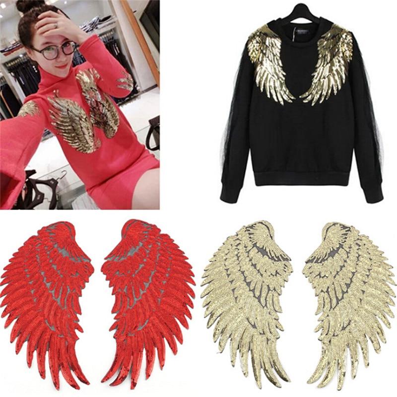 1 par de parches de lentejuelas DIY alas de ángel para ropa de niños cosido bordado motivo de parche pegatina de aplicación plata oro rojo negro