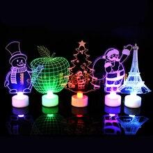 Arbre de noël père noël bonhomme de neige LED veilleuse décoration de la maison lampe cadeau de noël décoration de fête de noël LED bougies électroniques