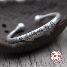 S925 argent sterling bracelet ouvert personnalisé style classique Six mots mantra bouddhiste écriture bijoux modélisation cher