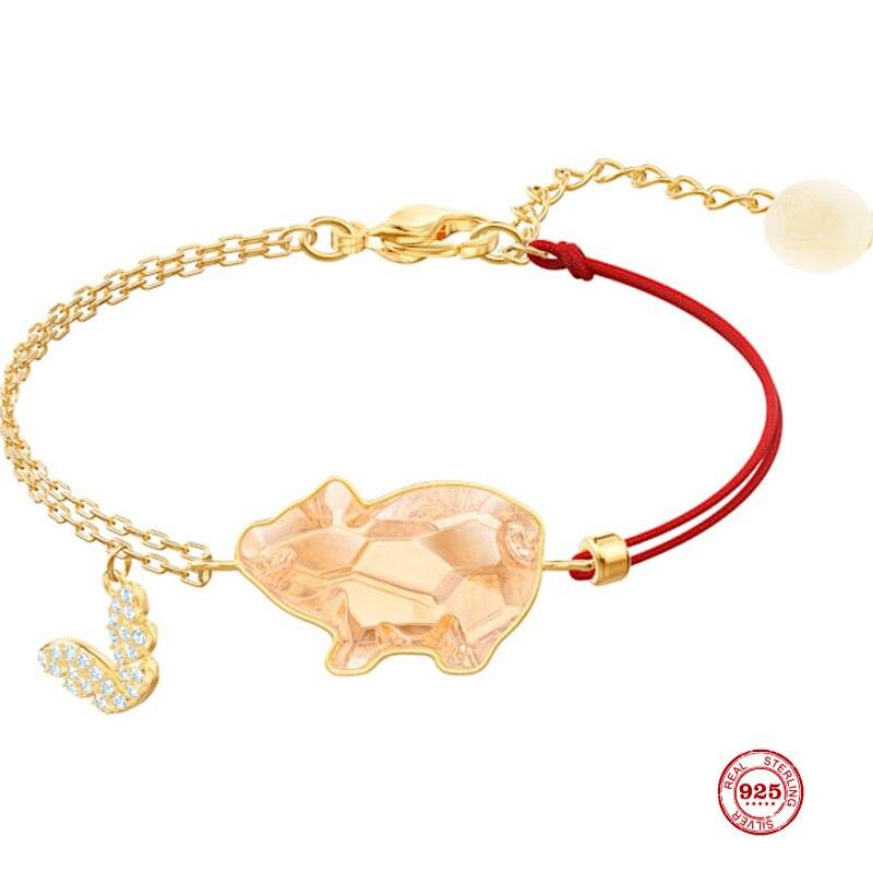 Amuleto de moda plata pura 925 Original 11 copia, año de nacimiento cerdo dorado exquisita pulsera salvaje mujer Regalos de joyería de lujo