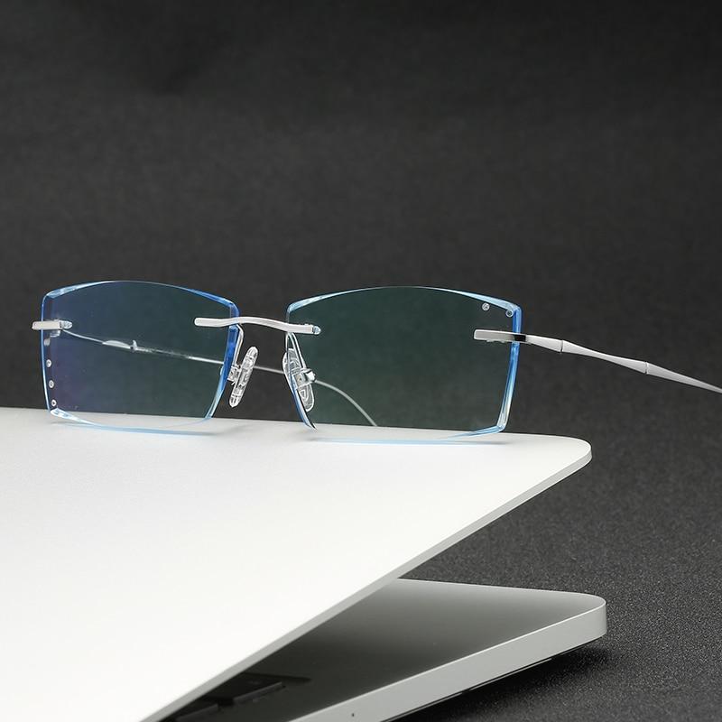 ZIROSAT 3018 Pure Titanium Rimless Men Eyeglasses Frame Fashion Brand Designer Myopia Clear Optical Prescription Eyewear Frame