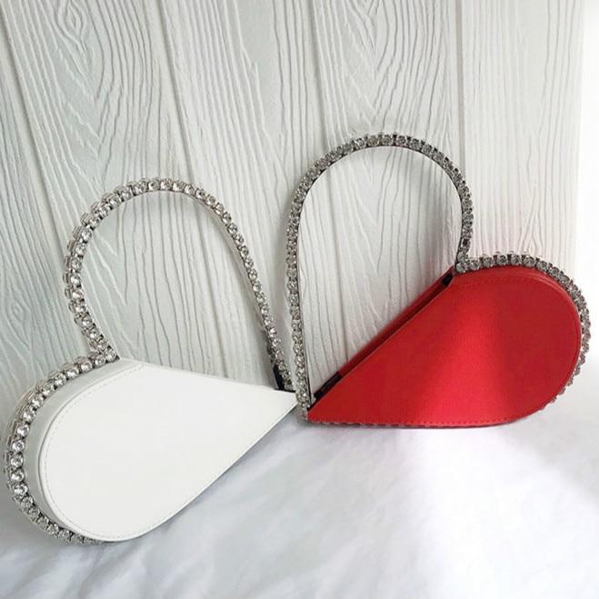 حقائب يد جلدية فاخرة على شكل قلب للنساء ، حقيبة زفاف مصممة ، حقيبة يد للحفلات ، 2021