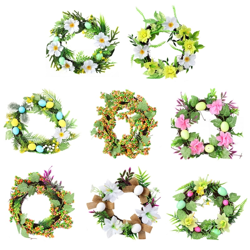 Inch Easter Wreath With Eggs And Flowers Ferns Spring Summer Room Decoration Accessorie Wall Decors Flowers Ferns  Seasonal
