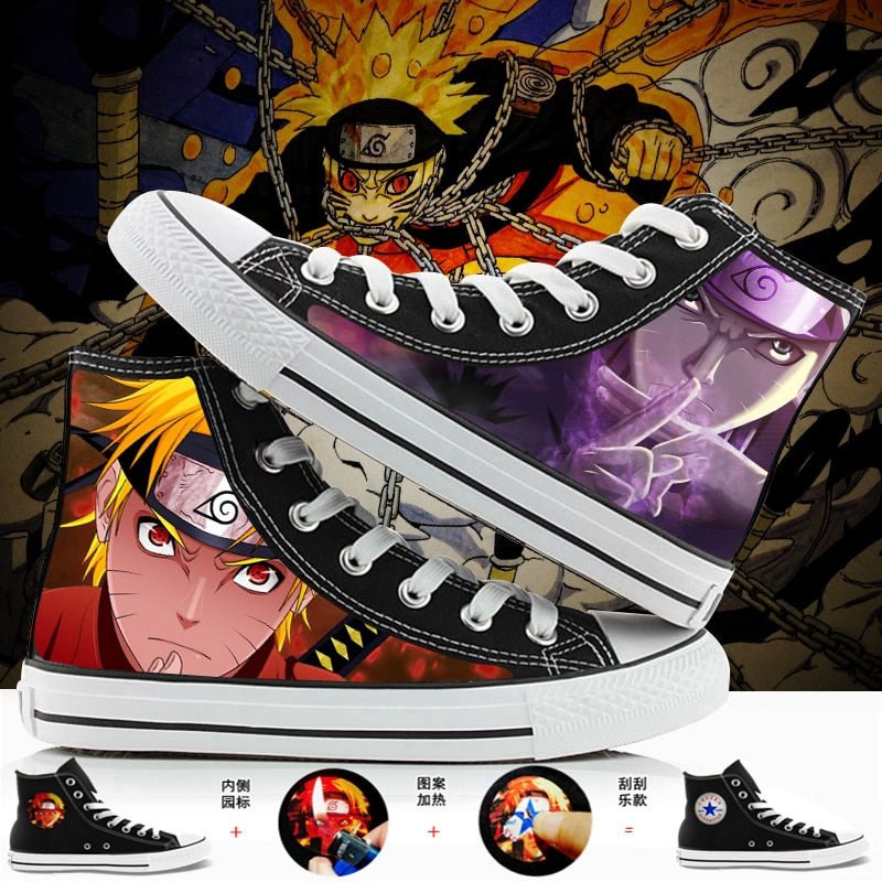 WHOHOLL Brand Naruto Anime Cartoon Hand Painted Canvas Shoes High Top Casual Sneaker Minion Shoes Ad